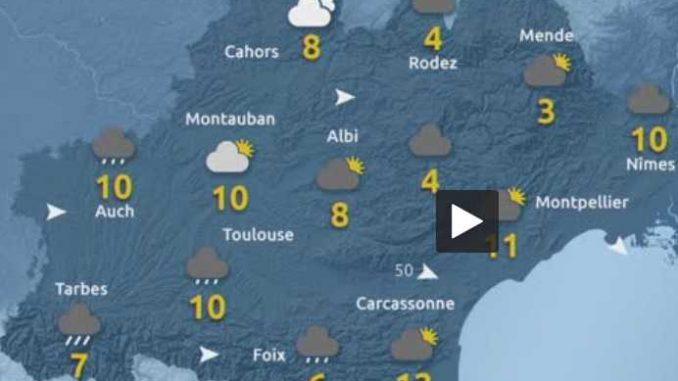 Pluie à Tarbes neige sur les Pyrénées, Froid, fin de semaine hivernale